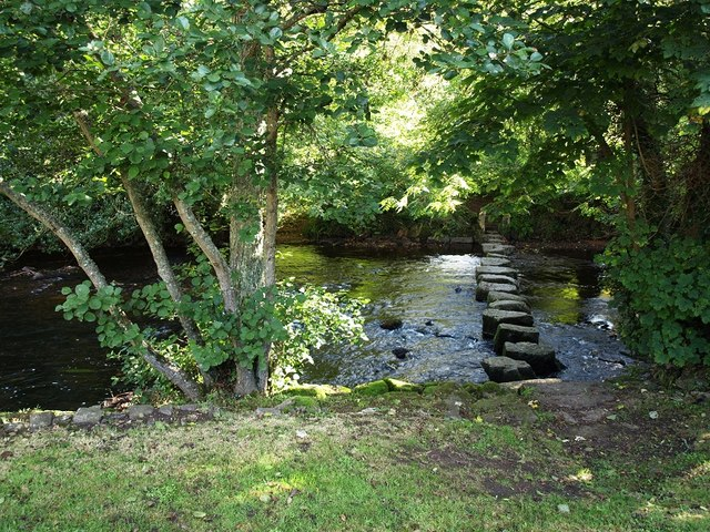 Stepping stones across the River Teign