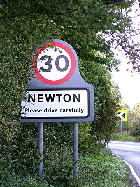 Newton Village name sign