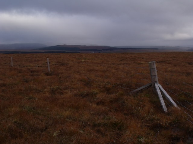 Taking the strain of a change of direction in a fenceline near Crask Inn, Sutherland