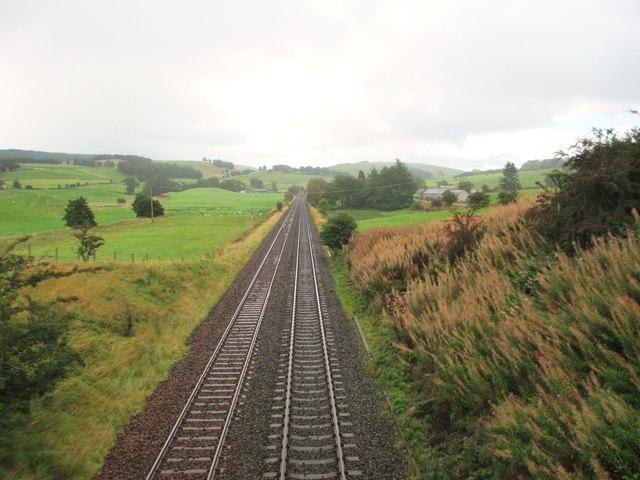 The railway heading towards Dumfries
