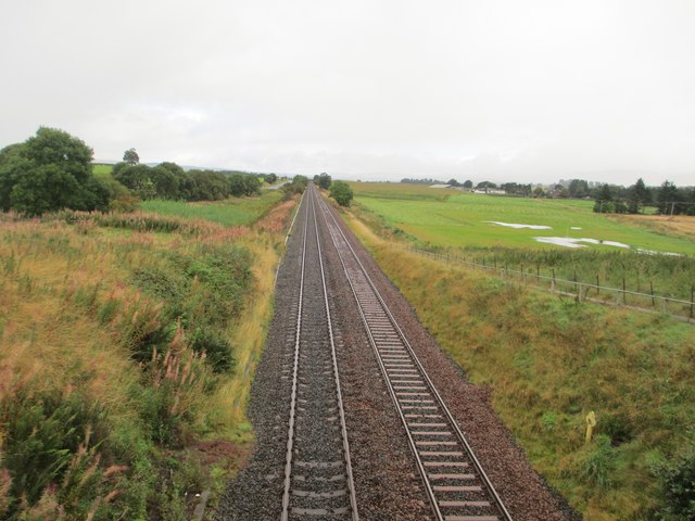 The railway heading towards Kilmarnock and Glasgow
