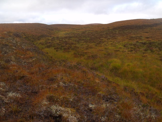 Looking up course of minor burn south-west of Cnoc an Alaskie near Crask Inn, Sutherland