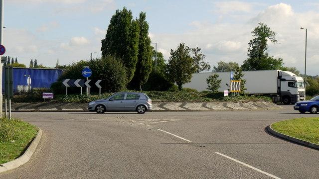 Busy A605 Warmington roundabout
