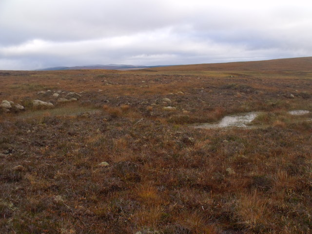 Boggy ground on low bealach between Cnoc an Alaskie and Cnoc an Fheor Mhaol near Crask Inn, Sutherland