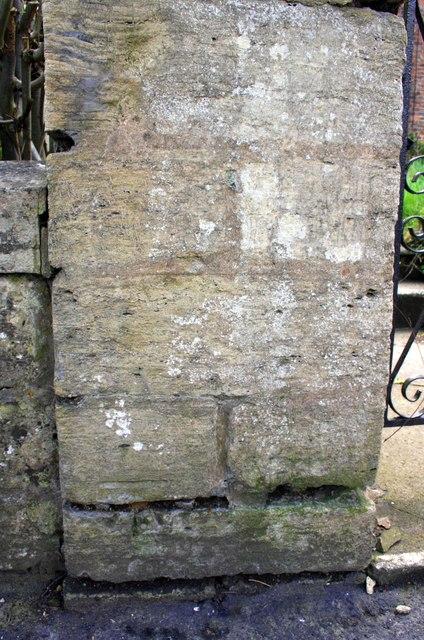 Benchmark on gatepost at entrance to #3 Princess Road