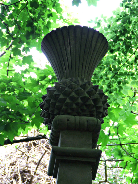 Boundary wall with thistle finial