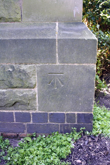 Benchmark on tower buttress of All Saints Church