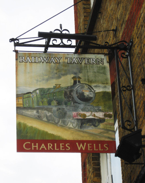 The Railway Tavern (2) - sign, 65 White Hart Lane, Tottenham, London N17