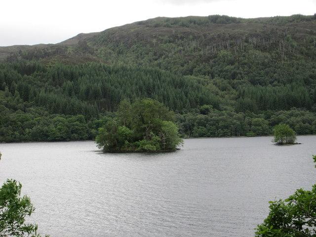 Pair of wooded islands on Loch Arkaig