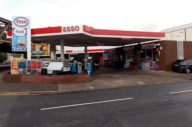 Esso filling station and Hursts shop, Maindee, Newport