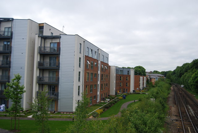 New flats by the railway line