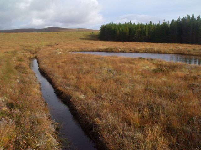 Pool and drainage channel on Cnoc na Doire near Crask Inn, Sutherland