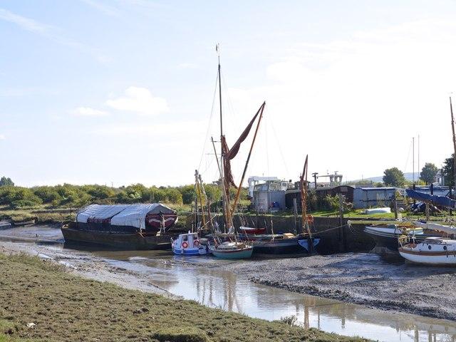 Low Tide turning at Faversham Creek Iron Wharf Boat Yard