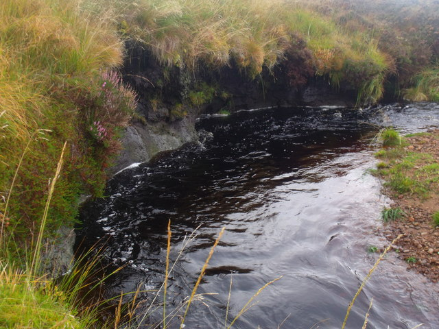 Deeply undercut peat bank of Feith a' Chuill near Crask Inn, Sutherland
