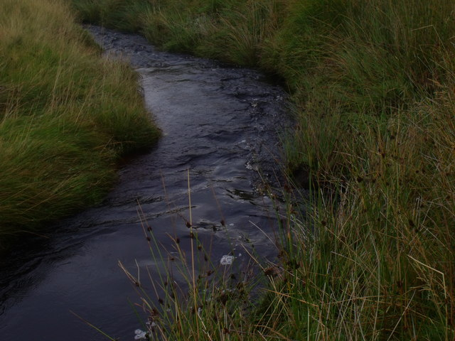 Feith a' Chuill flowing through its own grassy margins near Crask Inn, Sutherland