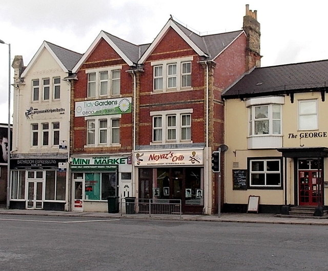 Chepstow Road shops opposite Wharf Road, Maindee, Newport