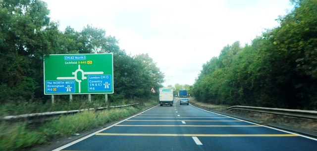 Approaching the A446 roundabout