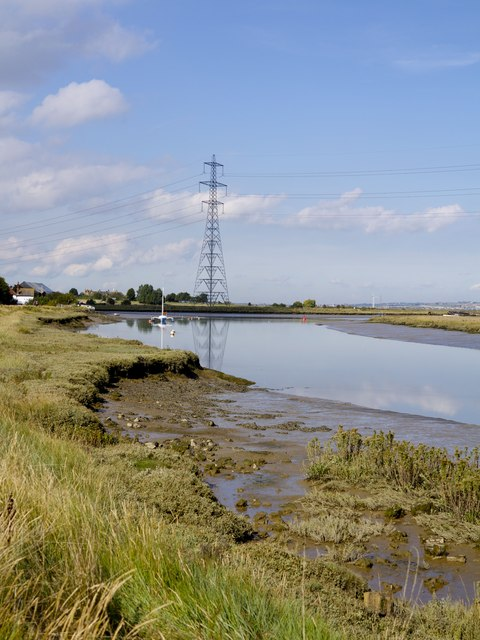 The junction of Faversham Creek and Oare Creek at Hollowshore
