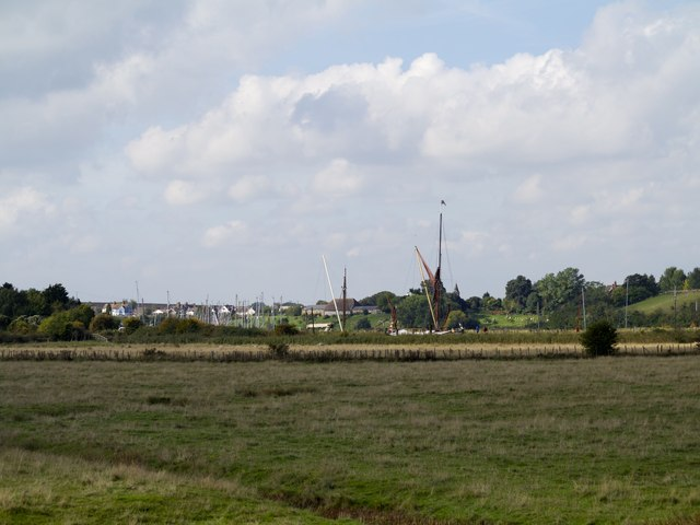 Barges in the distance on Oare Creek below Oare Church