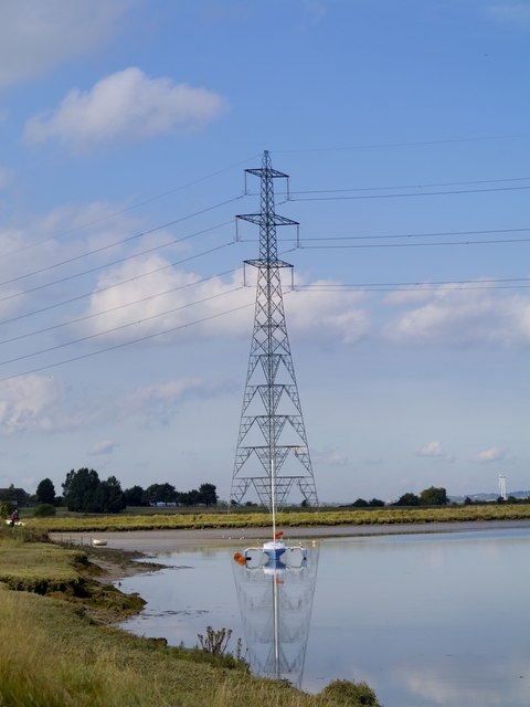 Pylon on Oare Marsh overlooking the junction of the Faversham and Oare Creeks at Hollowshore