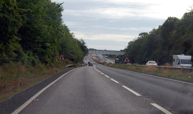 Approaching Railway bridge on A303
