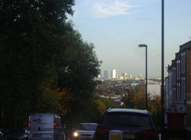 View of Canary Wharf from Hazelville Road