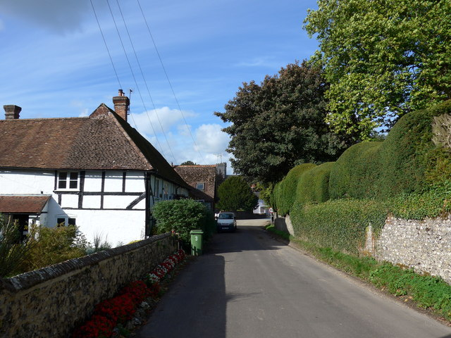 Looking down Station Road towards the A32