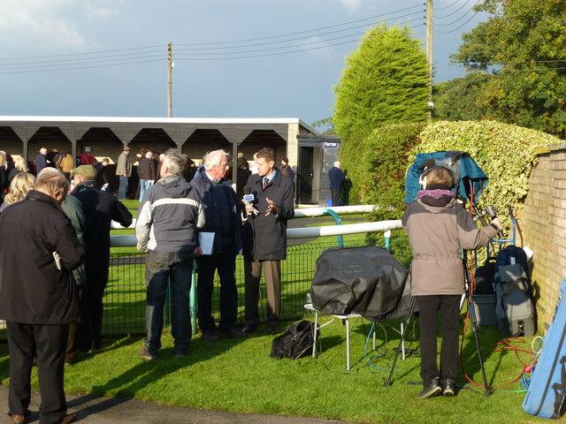 TV crew at Huntingdon Racecourse