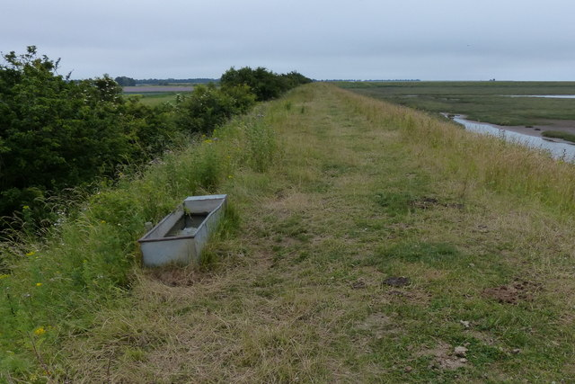 Cattle trough on the sea bank