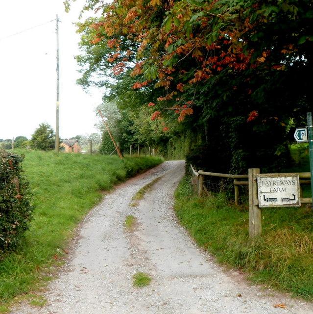 Lane and public footpath to Fayreways Farm, Dorstone