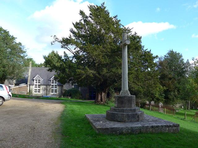 Looking past the war memorial towards the school