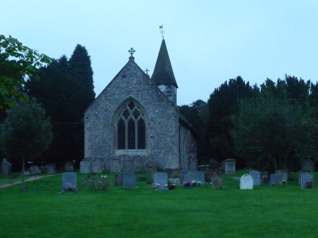 St Andrew's church, Wootton Rivers, at dusk