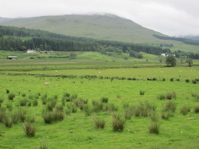 The green fields of the Glen Dochart valley