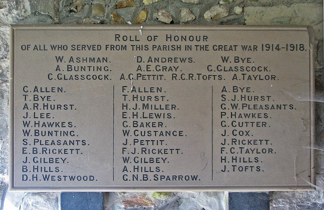 Great Abington: St Mary - Great War Roll of Honour