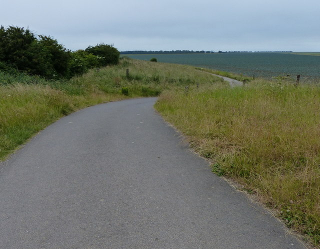 Tarmac road leading to Sea Lane