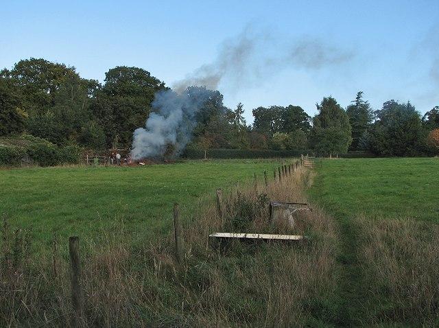 Little Abington: footpath and bonfire