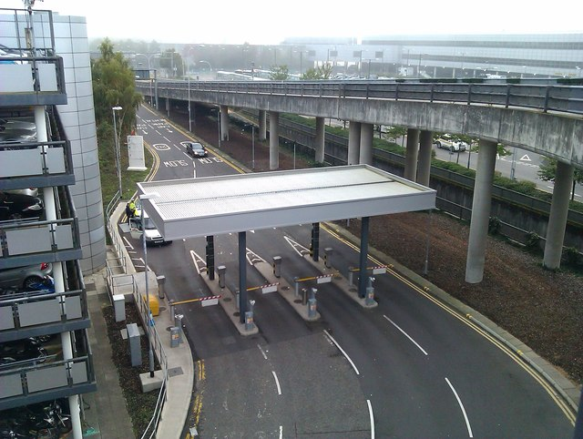 Gatwick North Terminal: looking down on car park entrance barriers
