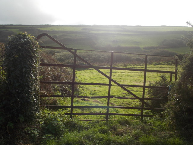 Zennor: view through a rusting gate