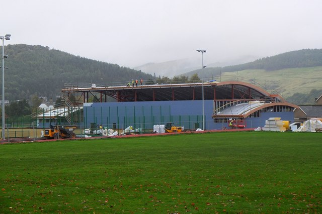 New sports hall under construction, Peebles High School