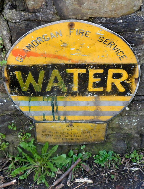 Old Glamorgan Fire Service water sign in Cwmavon