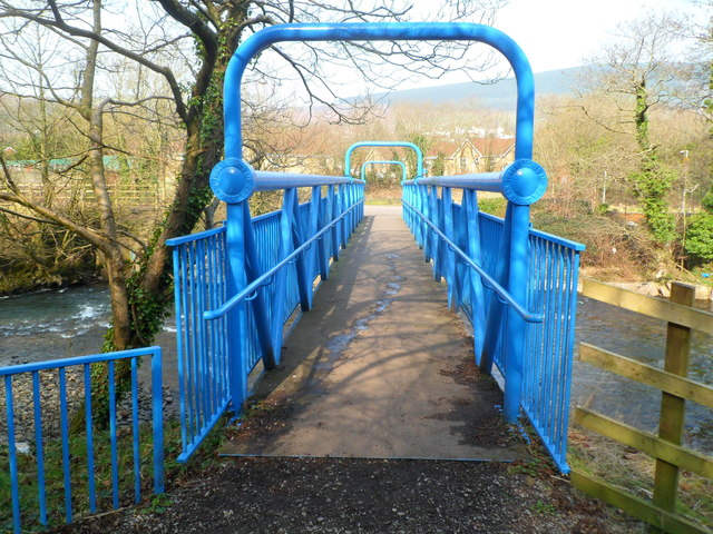 South side of a blue footbridge over the Afon Afan in Cwmavon