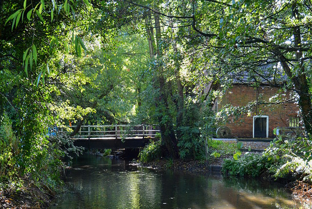 Mill house and bridge over the River Pang in Tidmarsh, Berkshire