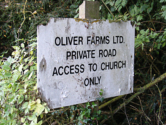Oliver (Farms) Ltd sign on Church Road