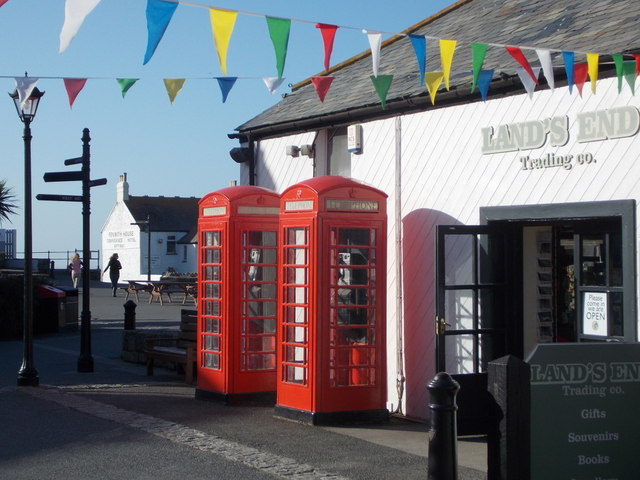 Land's End: two red phone boxes