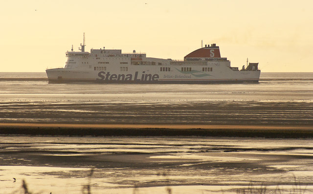 This Stena Line ferry appears to be parked on the beach
