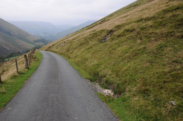 Mountain road descending to Llanmawddwy