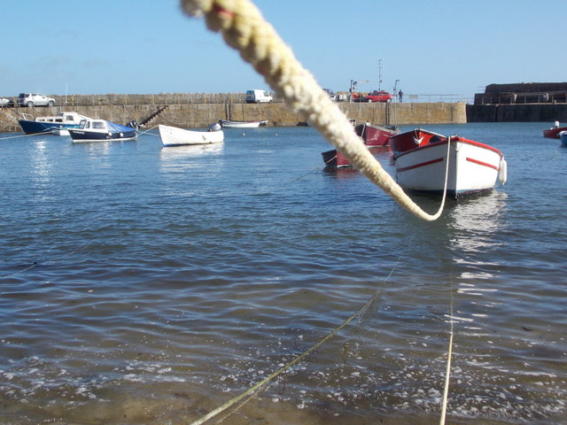 Mousehole: a boat in the harbour