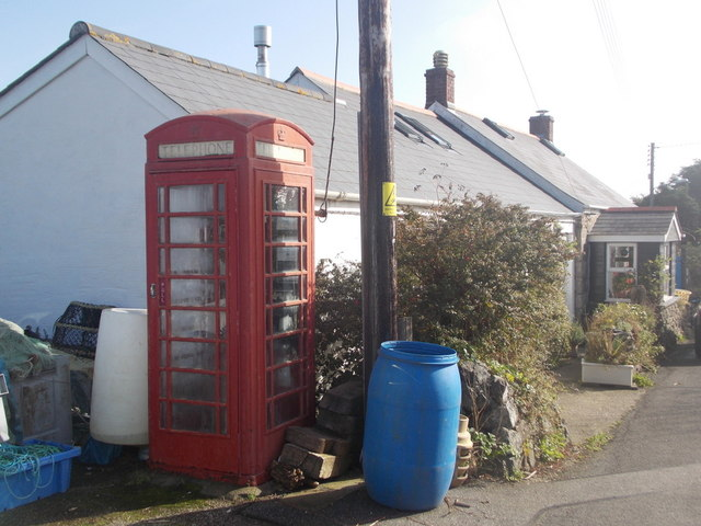 The Lizard: phone box on Church Cove Road