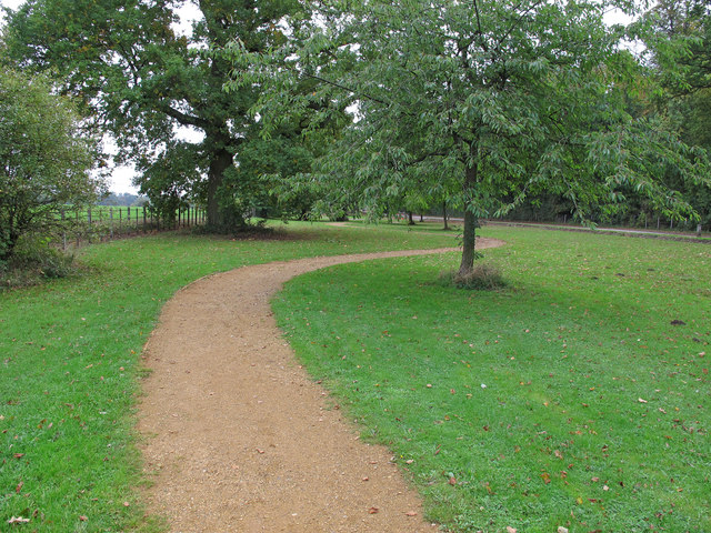 Path in verge of entrance road to Hylands Park
