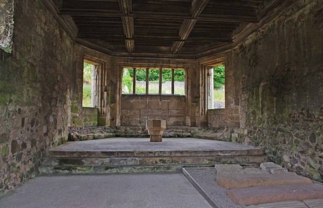 The interior of the chapter house, Haughmond Abbey, near Haughton, Shrops